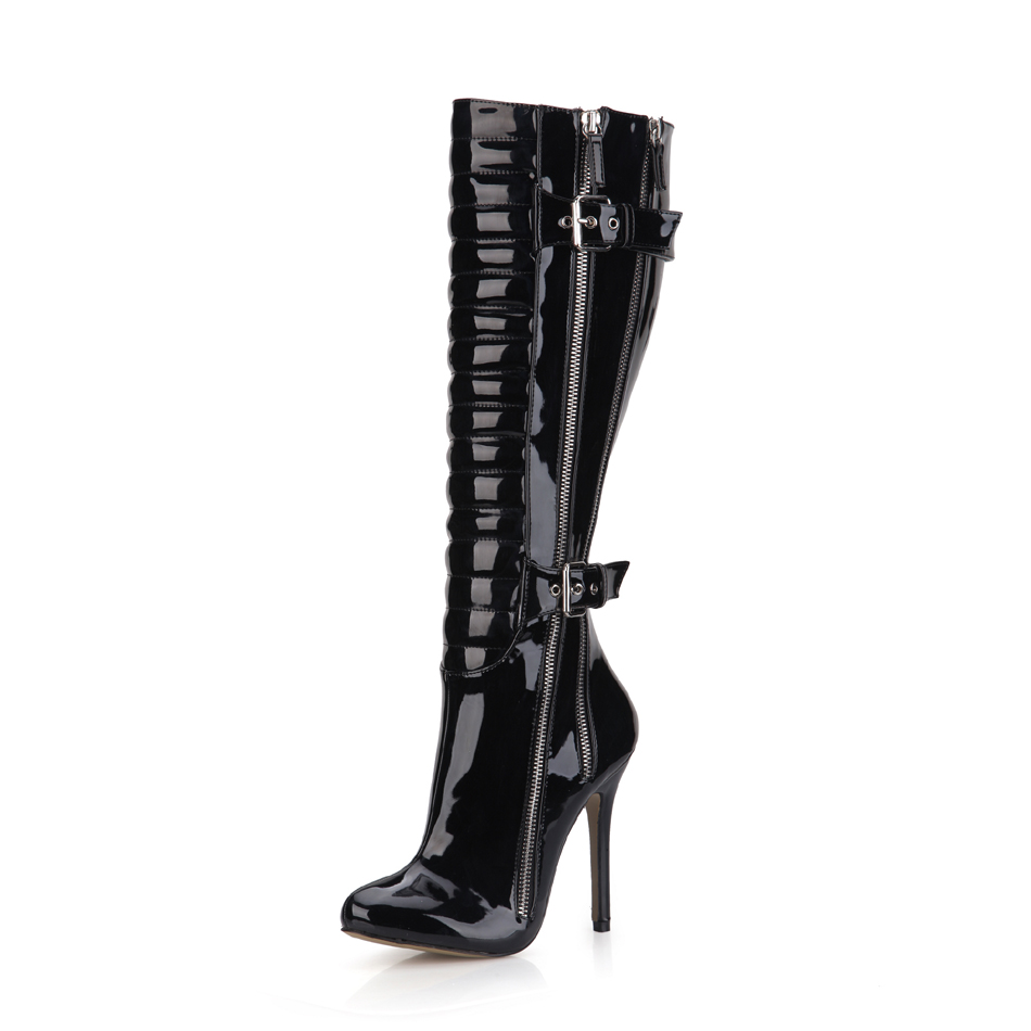 2016 Winter Black Red White Sexy Party Shoes Women Thin High Heels Buckle Zipper Ladies Knee-High Boots Zapatos Mujer 0640CBT-Y5