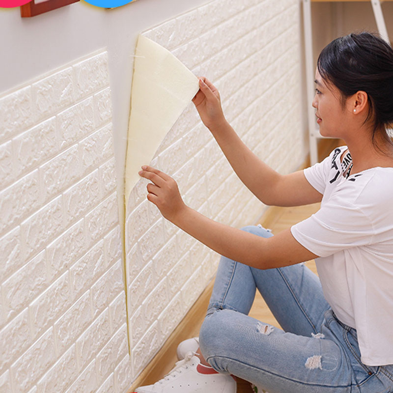 70X77  PE Foam 3D Wall Paper Safty Home Decor Wallpaper DIY Wallpaper Brick Living Room Kids Bedroom Decorative Sticker