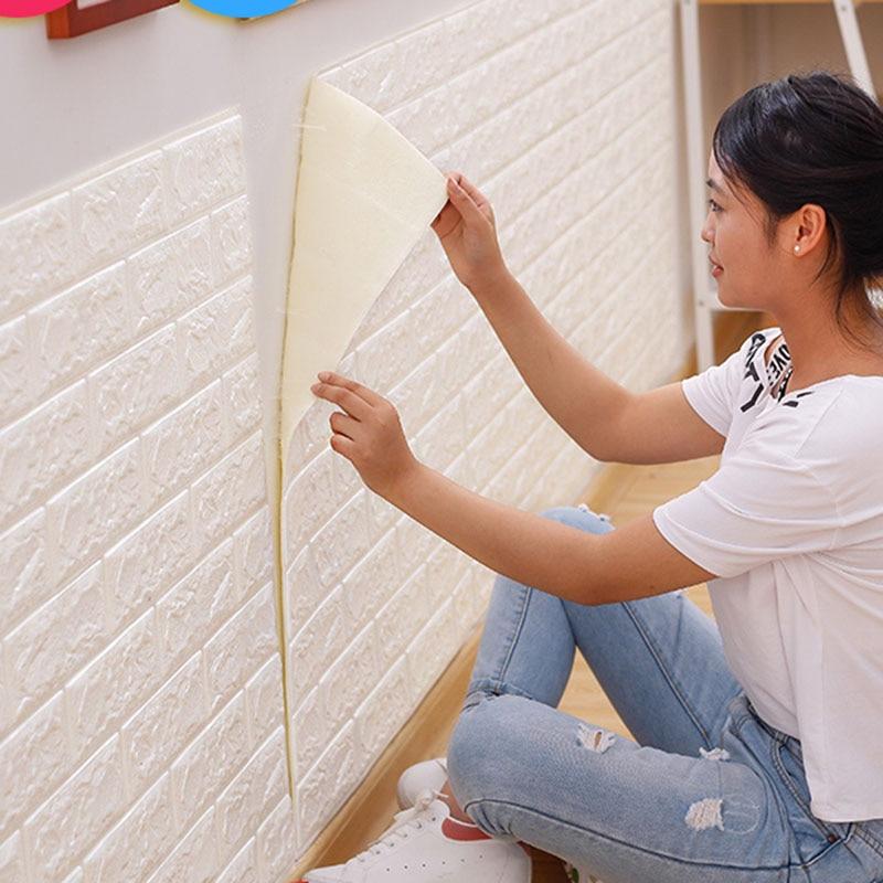 70X77  PE Foam 3D Wall Paper Safty Home Decor Wallpaper DIY Wallpaper Brick Living Room Kids Bedroom Decorative Sticker