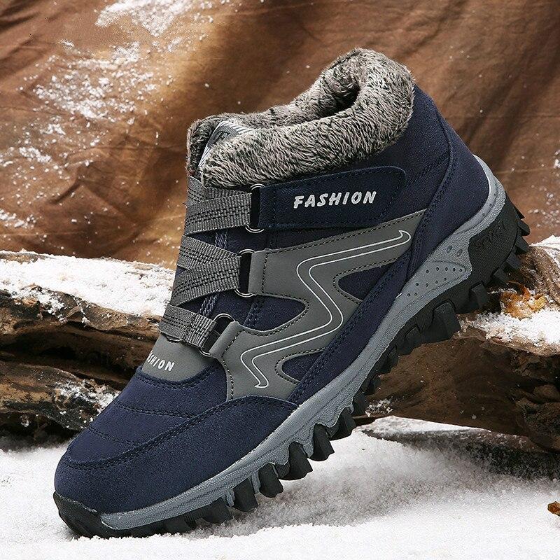 Los hombres botas de invierno con la piel 2018 botas para la nieve caliente zapatos de los hombres, calzado de moda de hombre de invierno botas de tobillo tamaño grande x-172