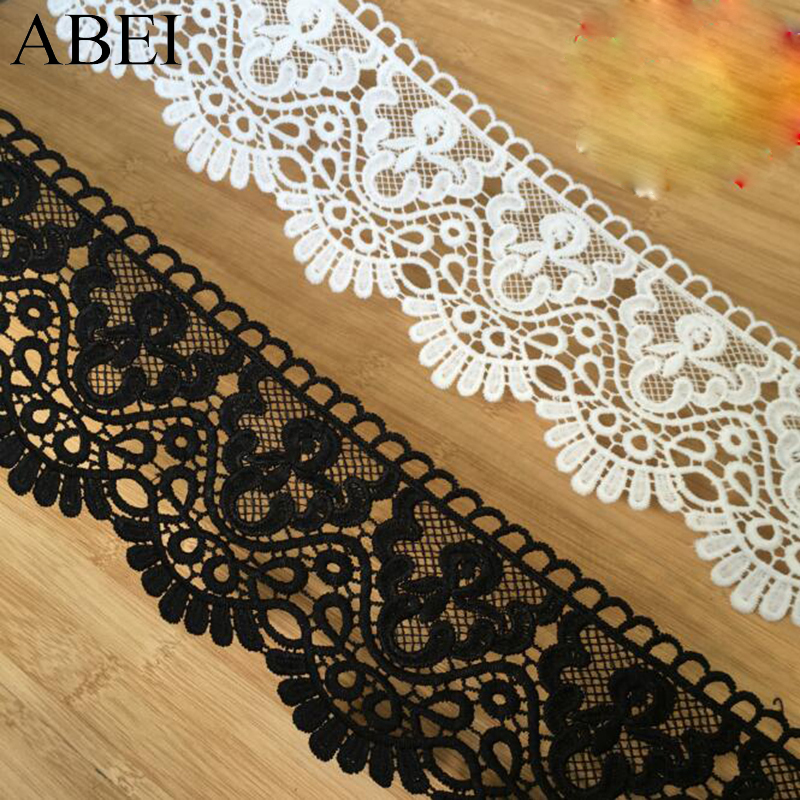 2yards/lot 10cm White Embroidered Flower Lace Ribbon For Garments Hometexile Curtain Decors DIY Black Lace Trims Accessories