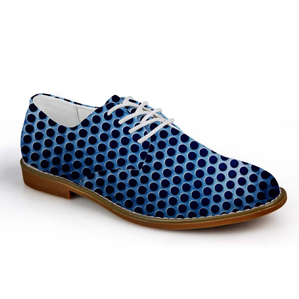 Noisydesigns Boys Oxford Shoe Mixed Color Blue Purple Polka Dot Print Male Leather Business Dress Shoe Man Lace Up Flat Loafers