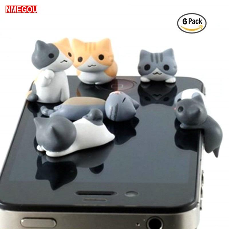 6 PCS Cute Cat Anti Dust Plug 3.5mm Earphone Jack Universal Phone for I