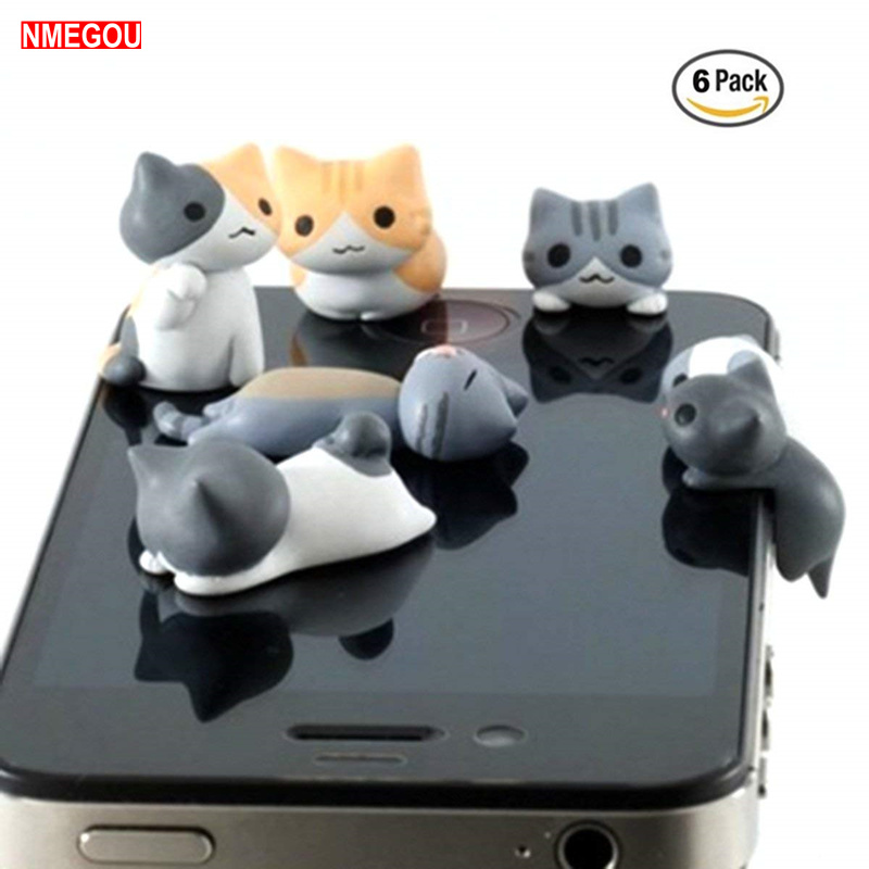 6 PCS Cute Cat Anti Dust Plug 3.5mm Earphone Jack Universal Phone for IPhone 6 6S 5S Plus Port Headphone 3.5 mm Jack Accessories