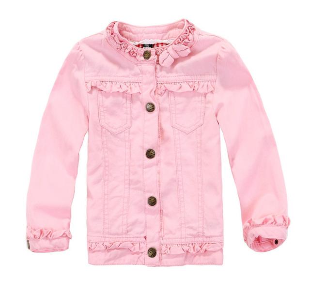 Nueva capa Del Bebé Rosada de Las Muchachas chaqueta de mezclilla cuello de encaje Hermoso abrigos de los niños Al Por Mayor