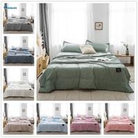 Novo espalhado de cama rosa e branco  cobertor para cama  edredon acolchoado  têxteis adequado para crianças e adultos