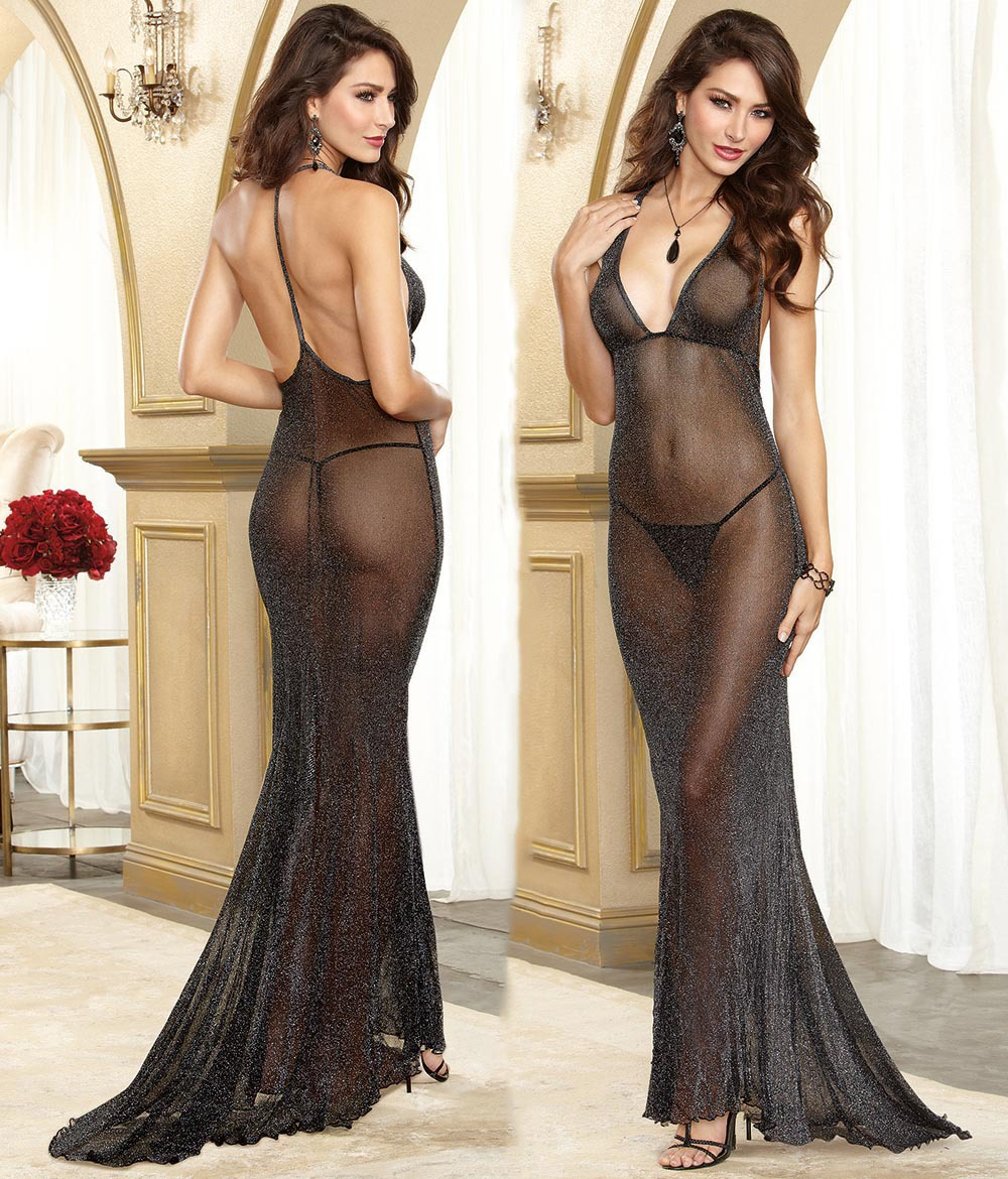 Women Sexy Lingerie Women Exotic Dress Mesh Sparkled Black Low Cut Braces Floor Length Dress