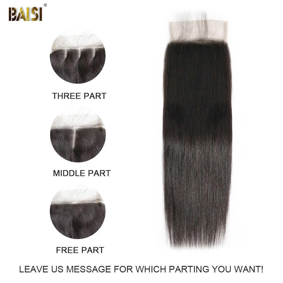 BAISI перуанские прямые волосы швейцарская шнуровка 4x4 бесплатная часть средняя часть три части 100% человеческих волос