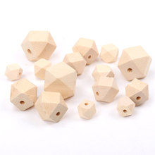 Miçangas espaçadoras geométricas sem acabamento, facetadas de madeira natural, para fazer jóias diy, 10mm 12mm 14mm 16mm acessório mt0212/12