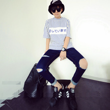 2015 new summer famous brand blue ripped big hole jeans men washed blue demin pants for male