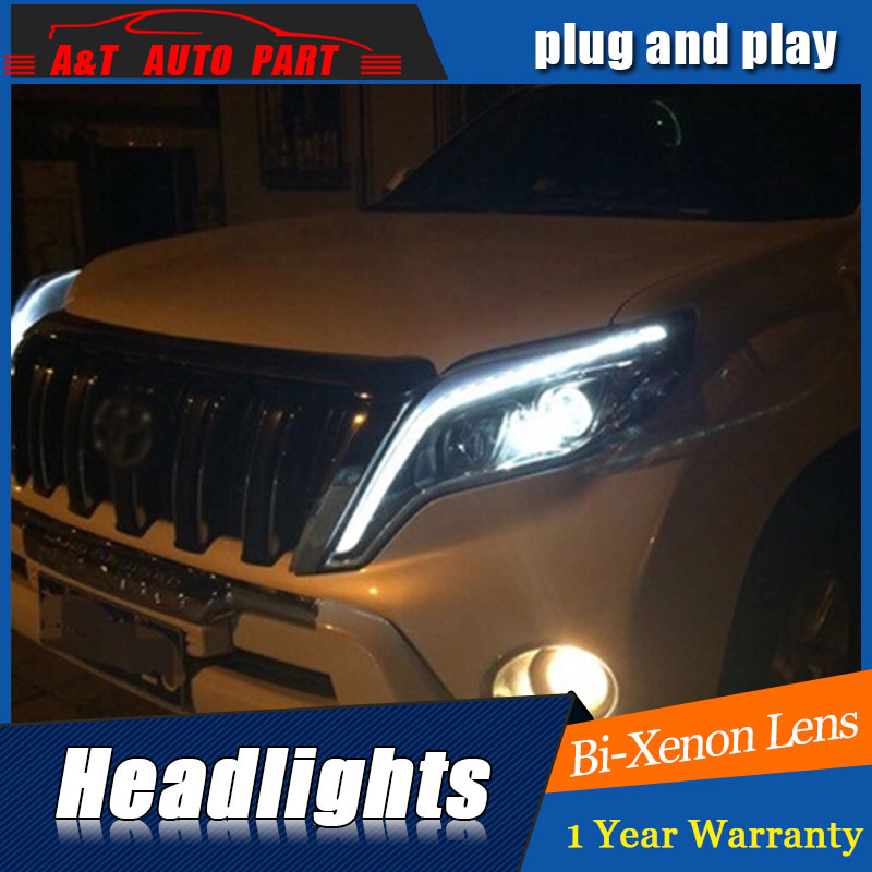 front light 2014 2017 For toyota prado xenon headlights car styling bi xenon lens for prado