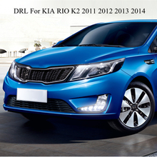 LED Daytime Running Light For Kia Rio K2 2011 2012 2013 2014 with Turn off function & Fog Lamp hole Brand New Best Quality