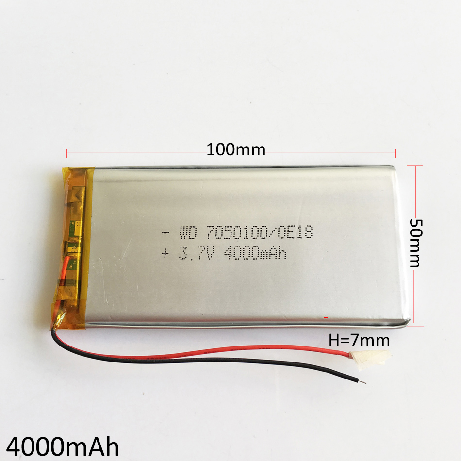 3.7V 4000mAh Lithium Polymer LiPo Rechargeable battery For Apple Power bank DIY GPS PSP Tablet PC Laptop MID DVD PAD 7050100