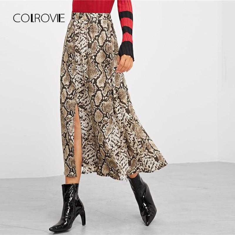 COLROVIE Multicolor Snake Skin Print Split Casual Skirt Women 2018 Autumn Street A Line Skirt Office Ladies Elegant Long Skirts