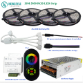 SMD 5050 RGB LED Light Waterproof LED Strip DC12V 60led/m 20M 15M 10M +RF Touch Remote Controller +12V15A Power Supply