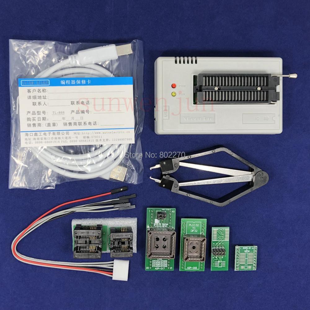 Black Edition V8.30 XGecu TL866II Plus Programmateur USB 15000 + IC SPI Flash NAND EEPROM MCU PIC AVR + 6 pièces ADAPTATEUR + PLCC EXTRACTEUR