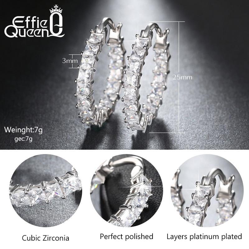 Effie Queen Liels apaļas stīpas sieviešu auskars Eternity stils ar - Modes rotaslietas - Foto 6