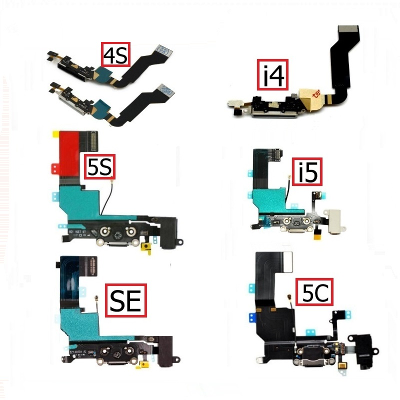 USB Charger Dock Port Flex Cable For IPhone 4 4s 5 5s 5C SE Audio Jack & Earphone Connector Flex Ribbon Cable Replacement Repair