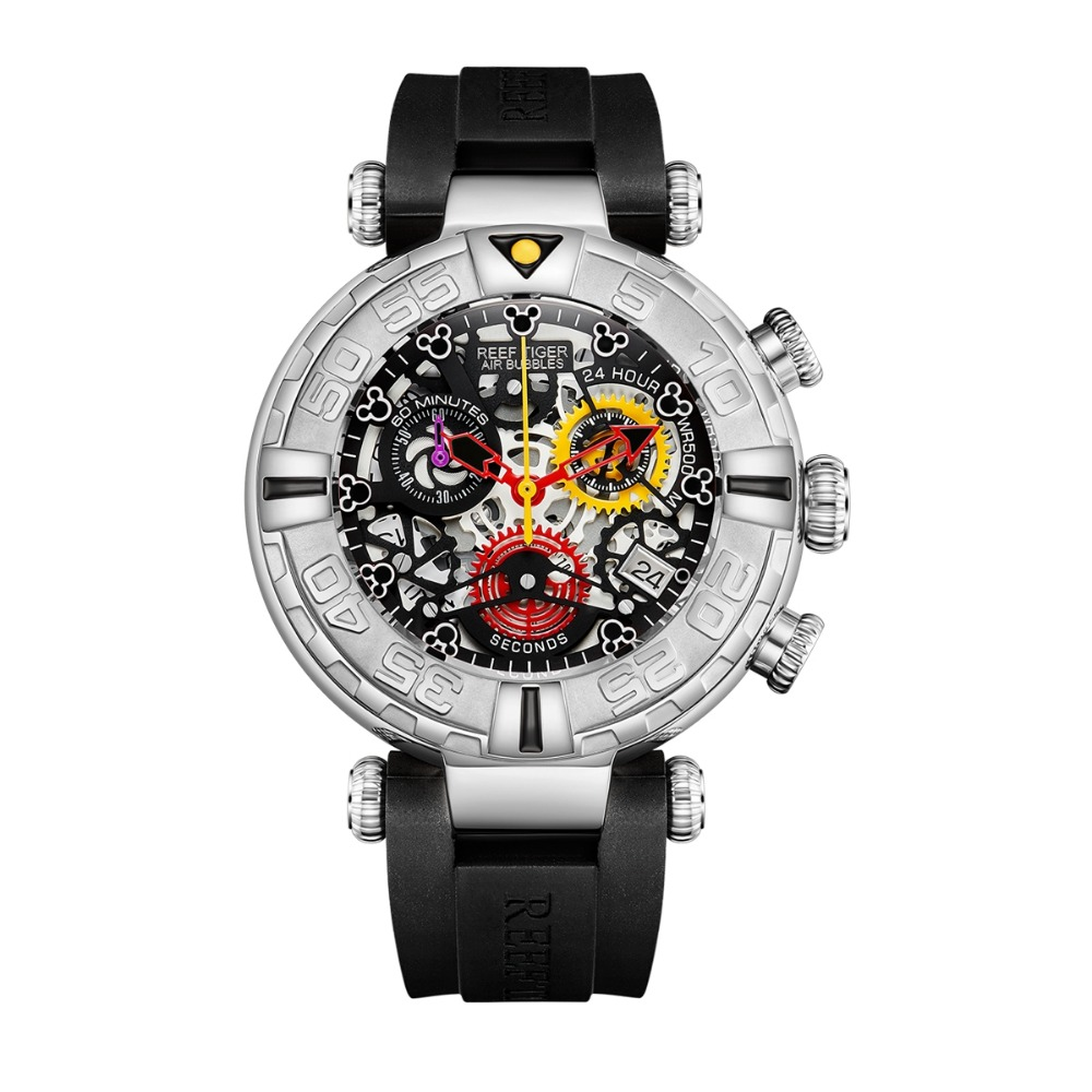Reef Tiger RGA3059 S мужские спортивные часы Chronograp Fashion 10Bar waterproof Skelet кварцевые наручные часы с резиновым ремешком для часов Серебристый