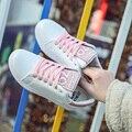 AD AcolorDay Тенденция Классический Круглый Носок Женская Обувь Криперс Сладкий Зашнуровать Женщин Повседневная Обувь Кожа Розовая Весна Осень Уютный обувь