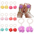 2017 Newborn Baby Girls Flower Sandals Pearl Flower Foot Band Toe Rings First Walker Barefoot Sandals Anklets Kids Accessories