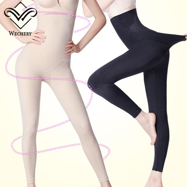 Wechery محدد شكل الجسم السيطرة طويلة سراويل بسط مرنة ملابس داخلية للنساء عالية الخصر ملابس داخلية للتنحيل دنة السراويل
