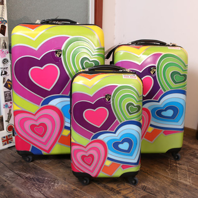 202428inch color luggage trolley koffer bag colorful heart Graffiti suitcases spinner202428inch color luggage trolley koffer bag colorful heart Graffiti suitcases spinner