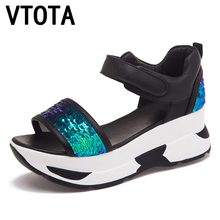 VTOTA  Platform Sandals Summer Shoes Woman Soft Leather Casual Open Toe Gladiator Shoes Women Shoes Women Wedges Sandals R25