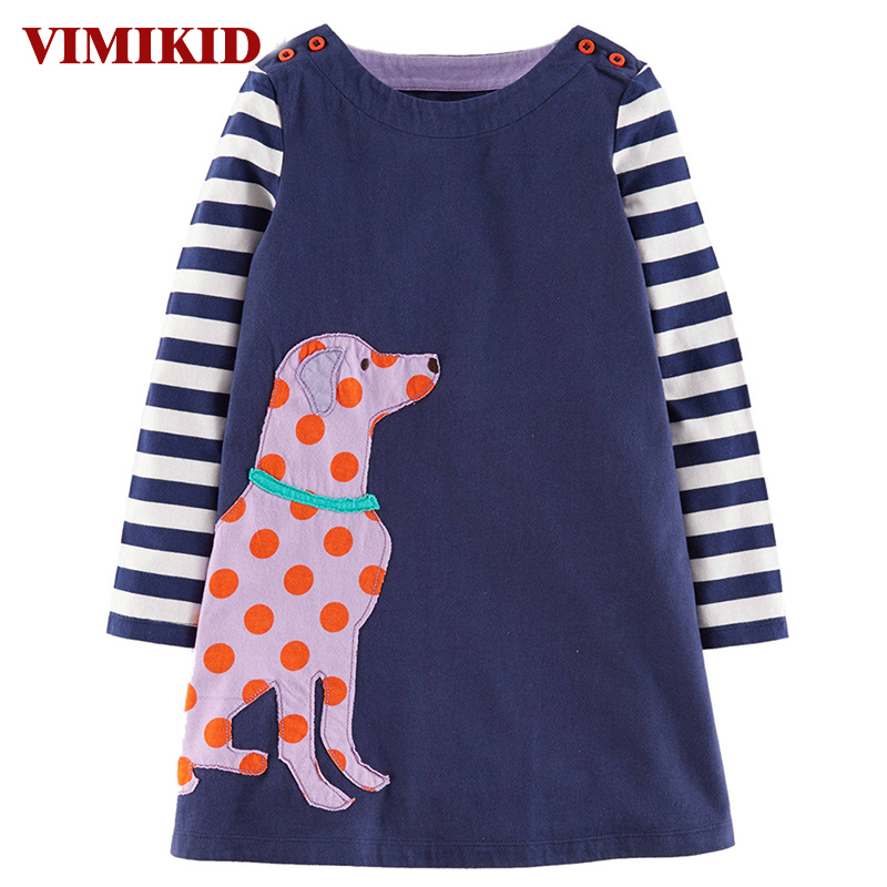 VIMIKID Girls Dresses Long Sleeve Spring Brand Kids Dress for Girls Clothes Robe Animal Applique Princess Costumes Children k2