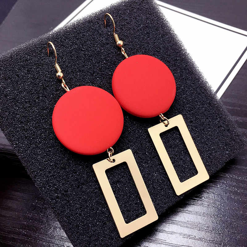 2019 Statement Red Round Wooden Earrings Geometric Rectangle Gold Dangle Drop Earrings for Women Fashion Jewelry Aretes De Mujer