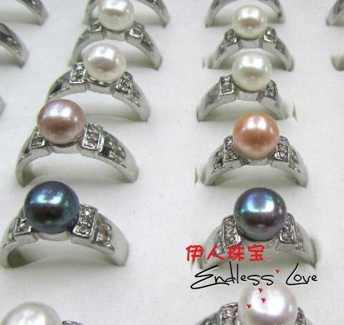 Смешанный цвет! Модный речной жемчуг кольцо ювелирные изделия изящные великолепные ювелирные изделия красивый аксессуар, 36 шт./партия