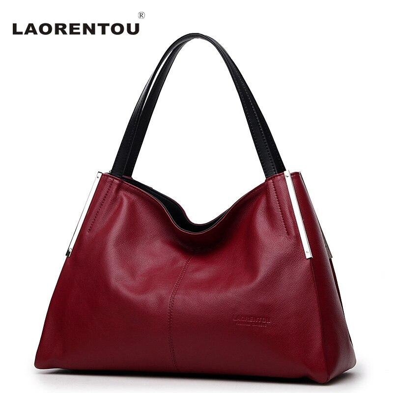 LAORENTOU Genuine Cow Leather Women's Handbag Soft Crossbody Bag Ladies Leather Shoulder Bag Fashion Real Leather Handbags N5