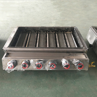 Professional 6 burners Gas BBQ Grill with Glass Cover Stainless Steel LPG Grill Stove For Outdoor Barbecue Grills Camping Tools