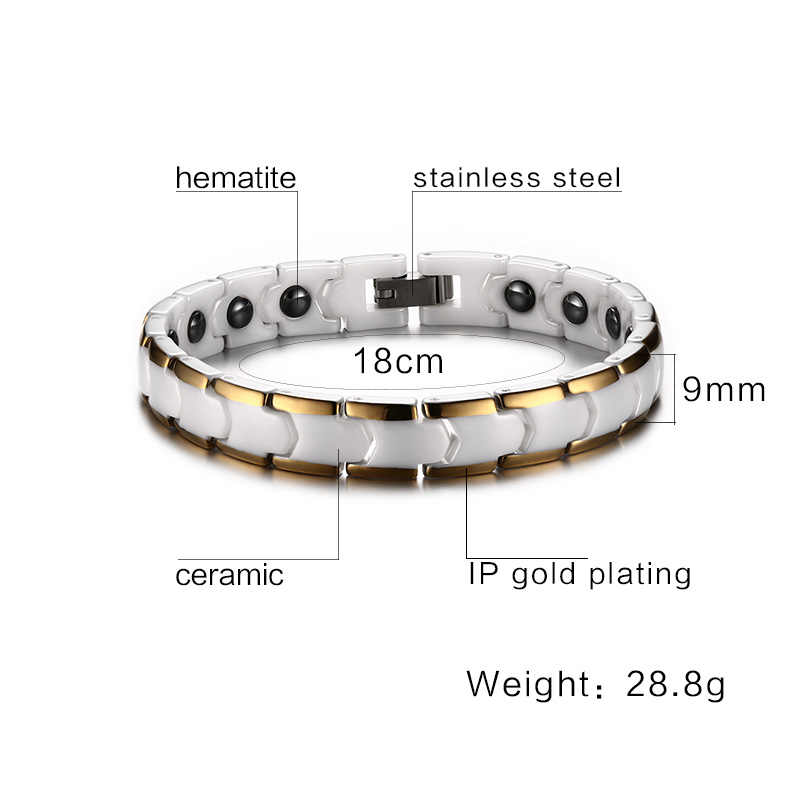 Vnox Relationship Bracelet for Women Ceramic Medical Alert Bracelet with Magnet Healthy Hand Chain