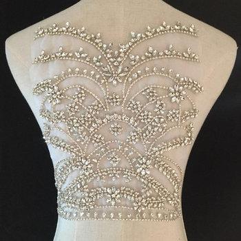 Deluxe Rhinestone bodice applique for haute couture, crystal bodice applique for wedding dress, heavy bead applique bodice фото