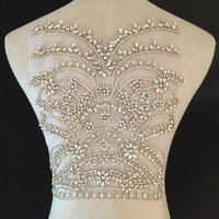 deluxe Rhinestone bodice applique for haute couture, crystal bodice applique for wedding dress, heavy bead applique bodice