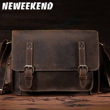 NEWEEKEND Retro Casual Multifunctional Genuine Leather Cowhide Crazy Horse Messenger Shoulder Crossbody iPad Bag for Man 1055