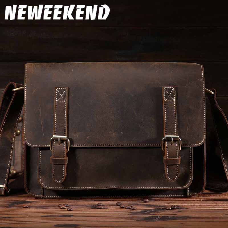 NEWEEKEND Retro Casual Multifunktionell Äkta Läder Kohhide Crazy Horse Messenger Shoulder Crossbody iPad Väska till Man 1055