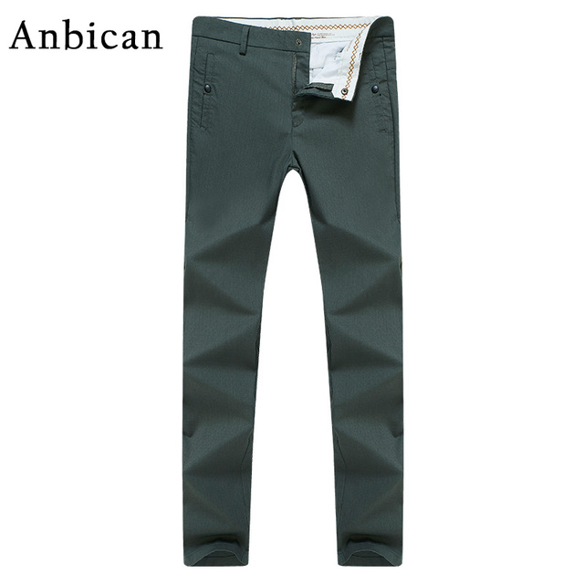 b6630151 Anbican Fashion Army Green Casual Pants Men 2017 Spring and Summer Full  Length Slim Chino Trousers Male Cotton Straight Pants