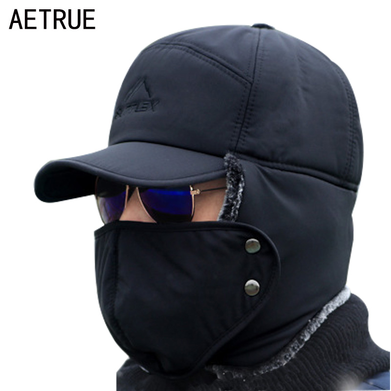 AETRUE Winter Hat Men Bomber Hats For Men Women Thick Balaclava Cotton Fur Earflap Warm Caps Skull Mask Male Winter Bomber Hat