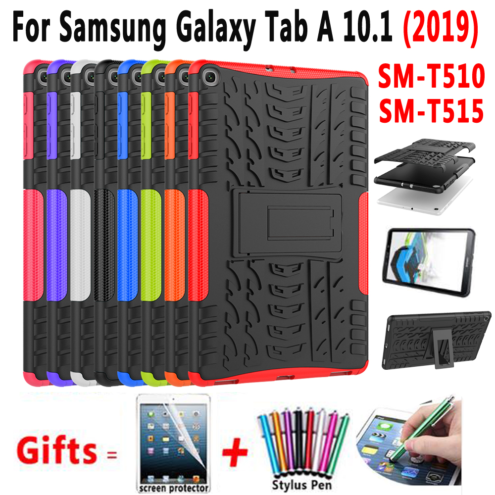Case For Samsung Galaxy Tab A 10.1 2019 SM-T510 SM-T515 T510 T515 Cover Funda Slim Silicone Shockproof Stand Shell +Film+Pen