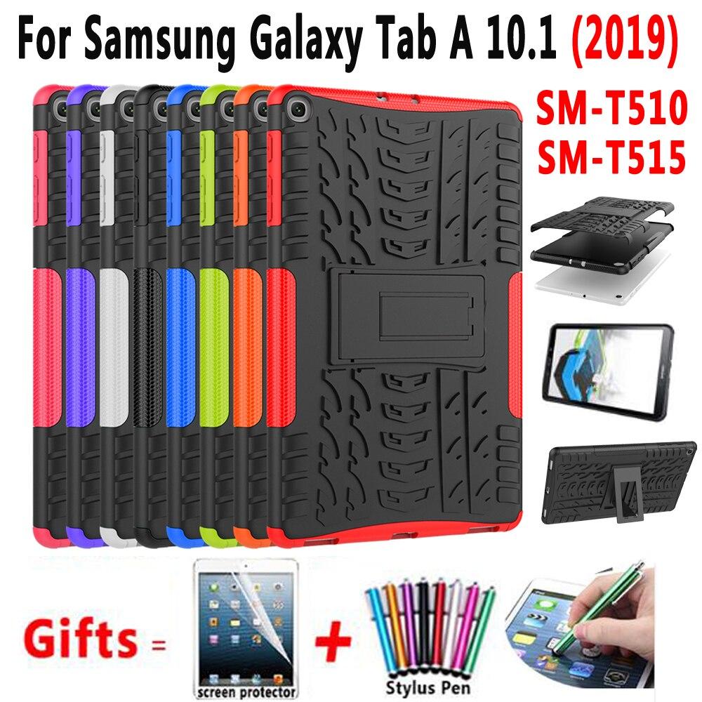 Caso para Samsung Galaxy Tab 10.1 2019 SM-T510 SM-T515 T510 T515 Funda Tampa Slim Silicone À Prova de Choque Fique Shell + filme + Caneta