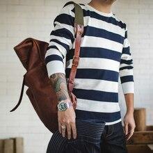 MADEN, Jersey informal para hombre, cuello redondo, Camiseta de algodón rayado de manga larga, azul y blanco