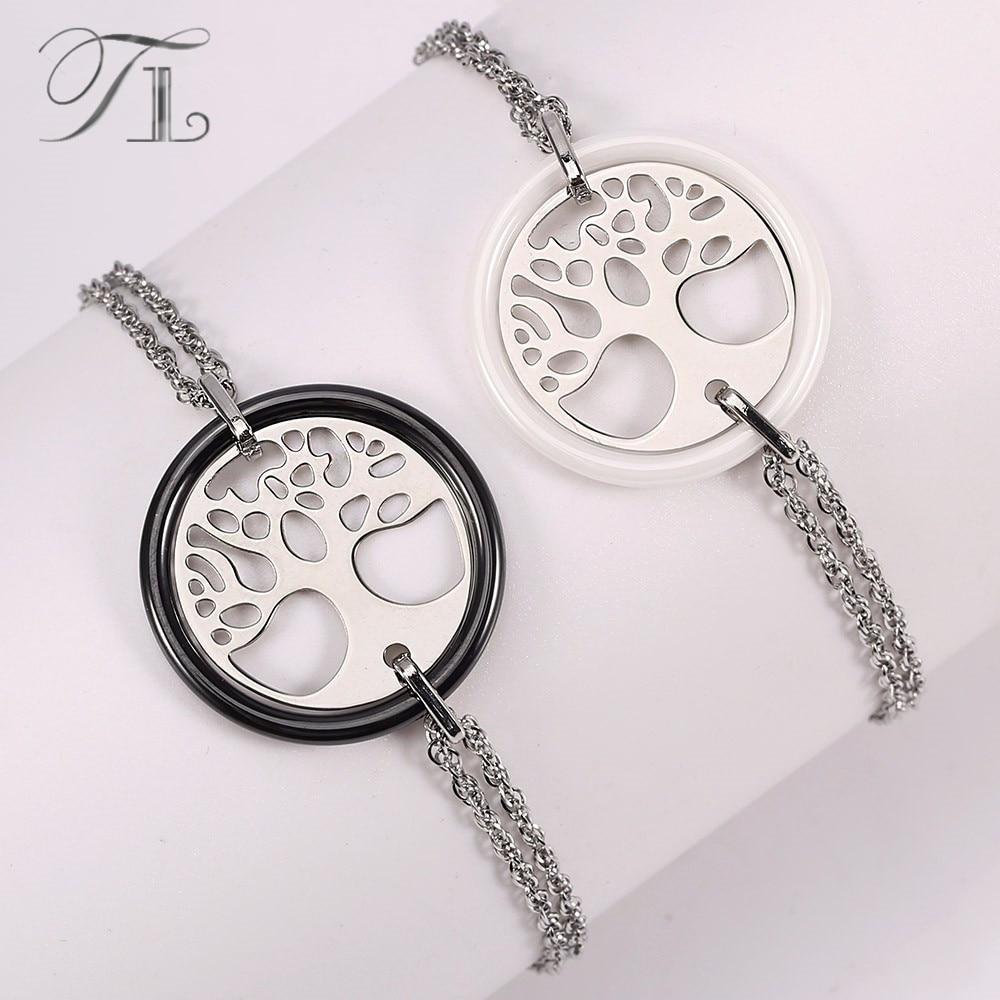 TL New Arrival Ceramic Bracelet Stainless Steel Hollow Life Tree Double Circle Charm Bracelet For Women Korean Hot Sale Jewelry