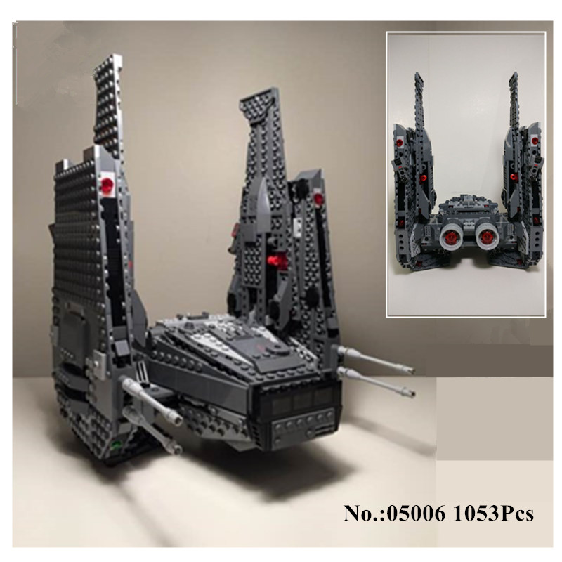 In-Stock H&HXY 05006 1053Pcs Star Series War Kylo Ren Command Shuttle Building Blocks Educational lepin Toys Compatible 75104 in stock h