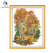 Joy sunday scenic style In the autumn of birches 14CT and 11CT printable cross stitch patterns embroidery kits for sale
