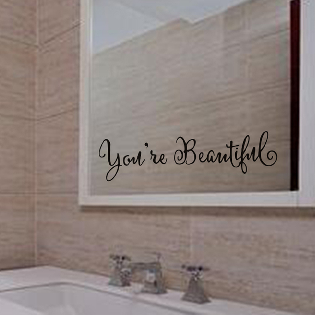 You'Re Beautiful Saying Mirror Wall Sticker For Living Room Bedroom  Bathroom Decoration Wall Decal