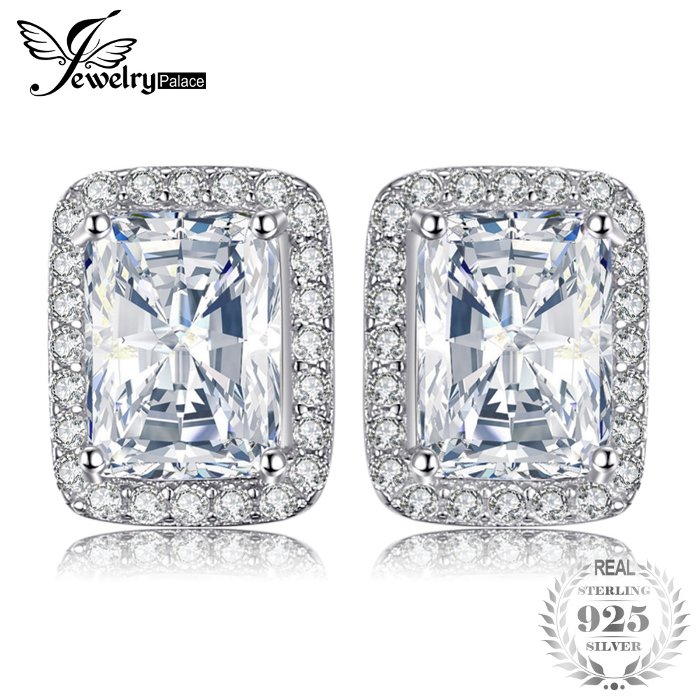 JewelryPalace Classic 2.2ct Rectangle Cubic Zirconia Engagement Wedding Halo Stud Earrings 925 Sterling Silver TrYRB3Fi4