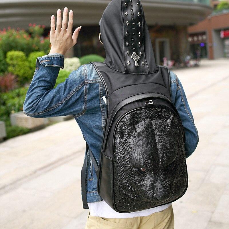 Nouvelle personnalité sac à dos en simili cuir polyuréthane mode animal sac à dos hommes et femmes silicone 3D sac stéréo tête de tigre