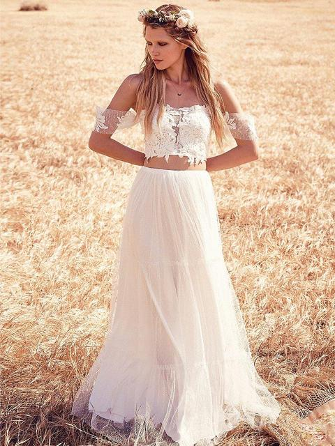 Two Pieces 2016 Boho Wedding Dresses Off Shoulder Short Sleeve Liques Beach Dress Simple Strapless